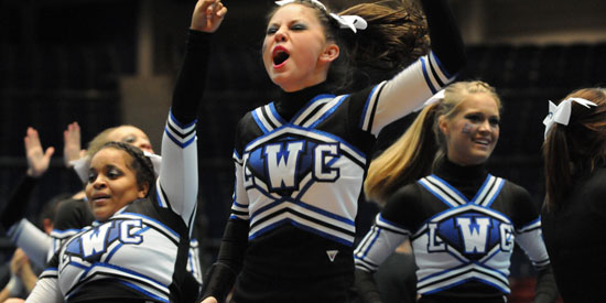 LWC cheerleading competed tonight at the MSC Championships.