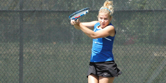 Diana Gerlakh fires back a return during her singles win on Tuesday.